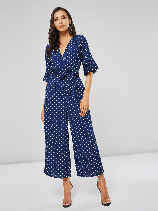Polka Dot Lace-Up Wide Legs Women's Jumpsuits
