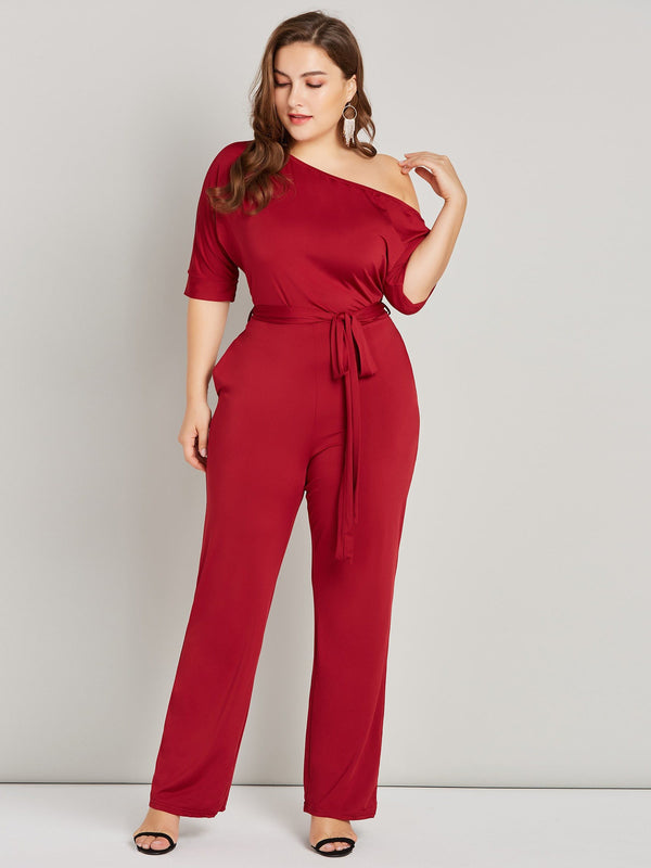 Straight Sexy Lace-Up Skinny Jumpsuit