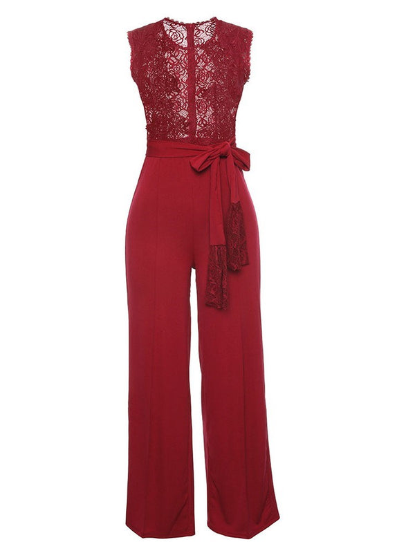 See-Through Lace Lace Women's Jumpsuits