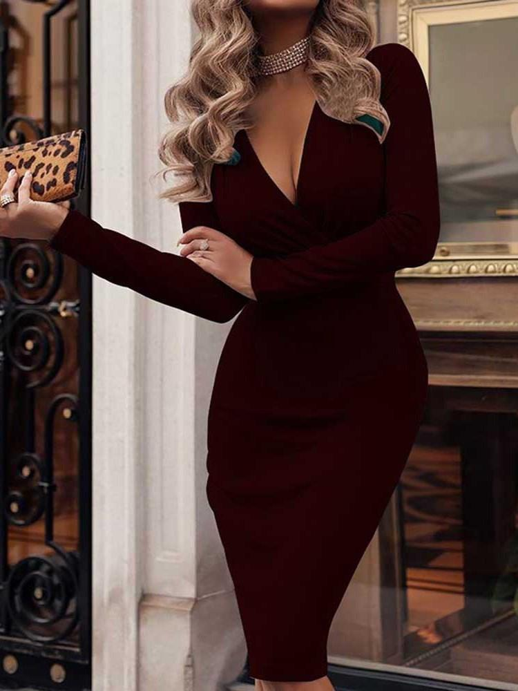 Robe Femme Filetage Manches Longues V-Col Standard Mi-Taille