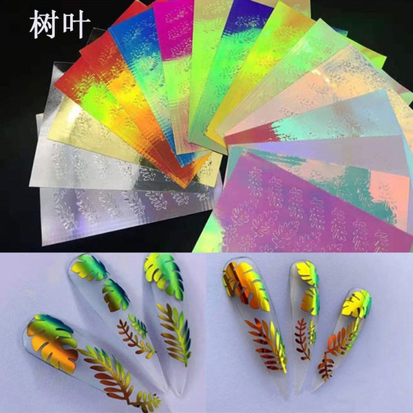 16pcs Flame Nail Stickers Thin Laser Silver Stripe Holo Fire Nail Sticker Decals Manicure 3D Nail Art Decorations