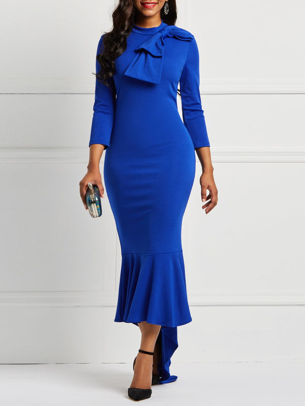Asymmetrical Bowknot Floor-Length Maxi Dress