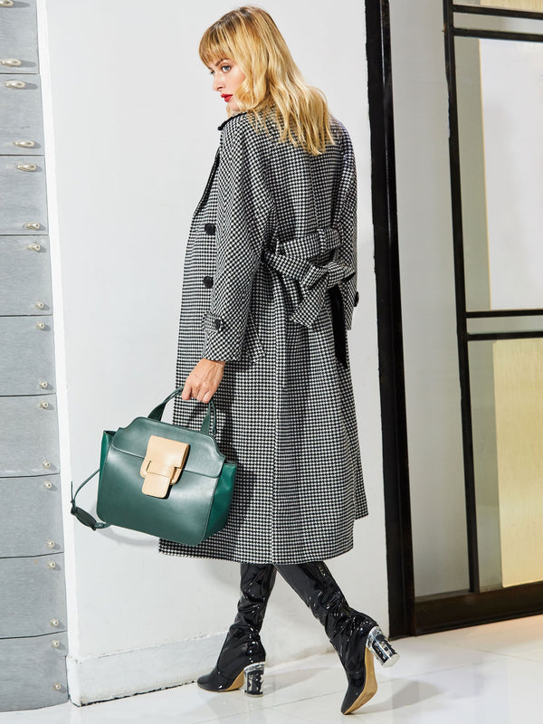 Lapel Double-Breasted Cashmere Trench Coat