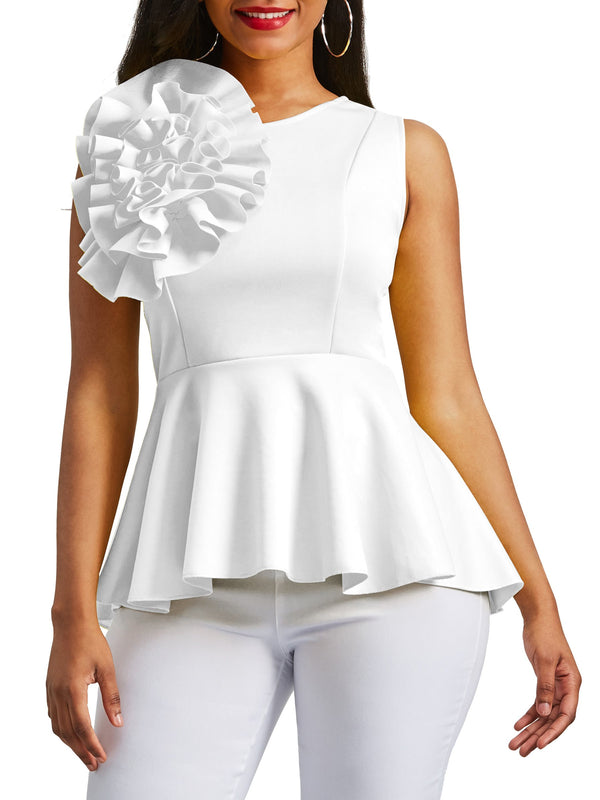 Applique Peplum Zipper Up Sans Manches Femme Top