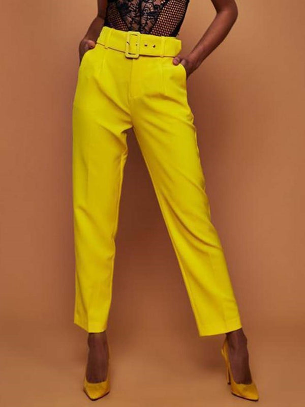 Plain Slim Belt High Waist Straight Casual Pants