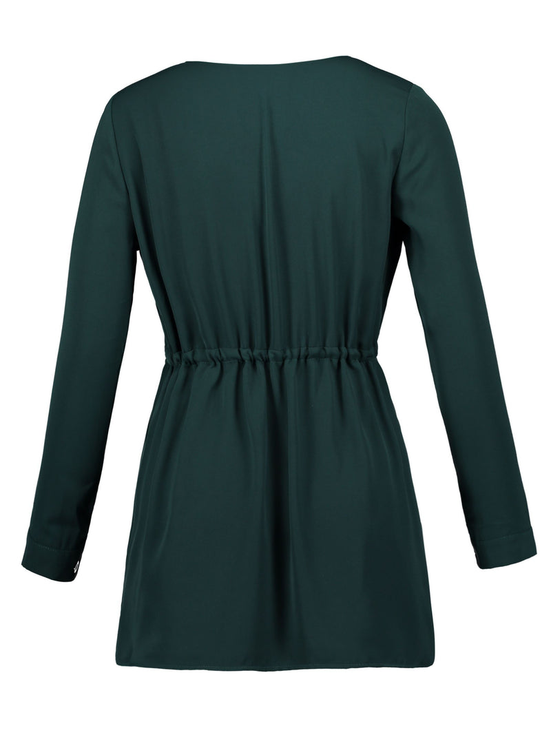Robe Femme V-Col Jupe Manches Longues A-Line Standard