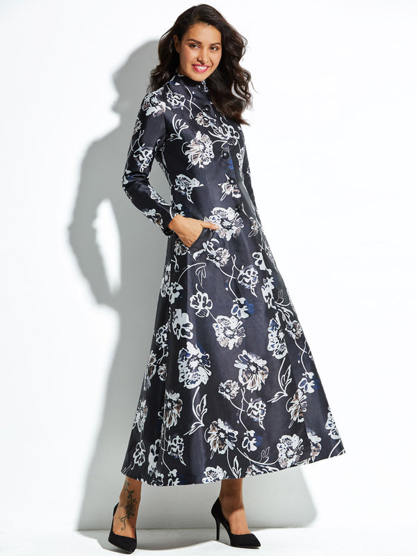 Stand Collar Floral Print Single-Breasted Trench Coat