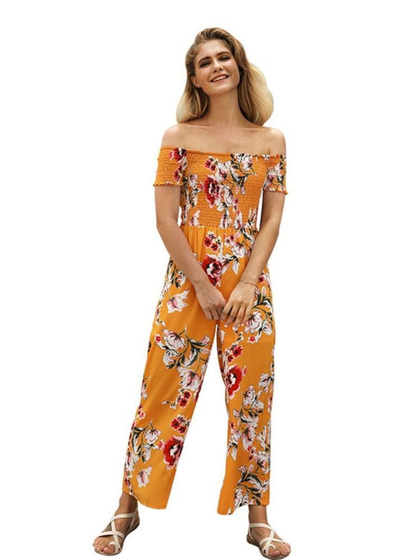 Floral Slasn Neck Print Women's Jumpsuit