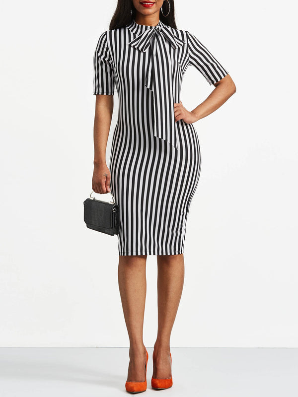 Bowknot Bow Collar Stripe Bodycon Dress