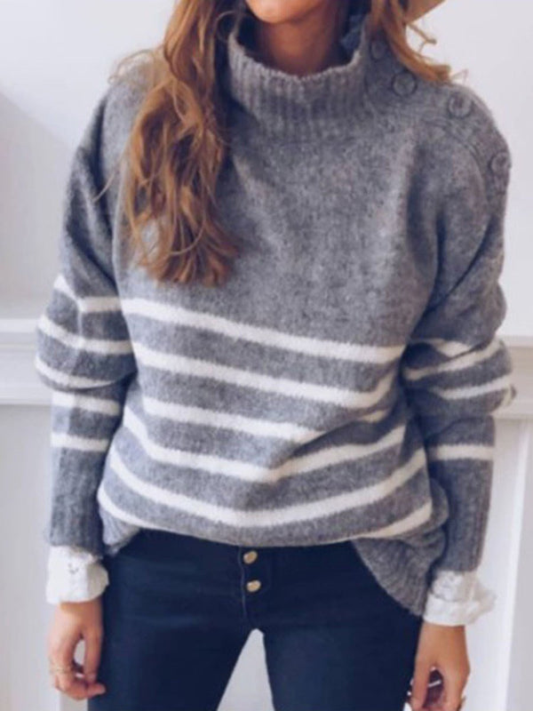 Pull Femme Bouton Standard Col Montant Standard