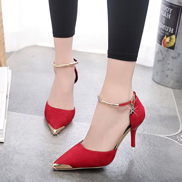 Shallow Mouth Buckle Pointed High Heel Pumps