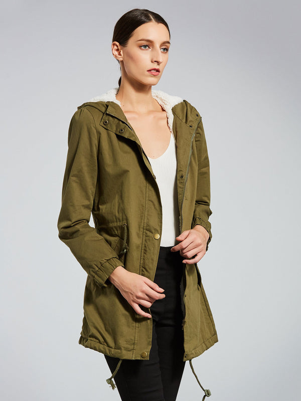 Army Straight Lace-up Long Thick Women's Overcoat
