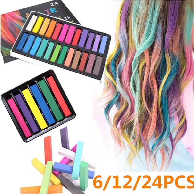 6/12/24PCS Colors Temporary Hair Crayons Pastel Kit Hair Color Chalk