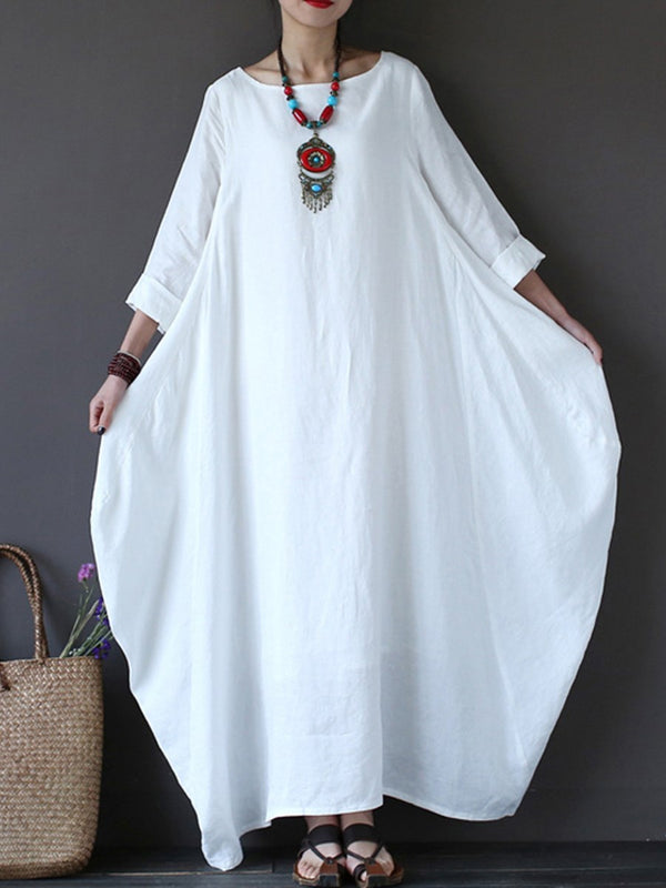 3/4 Length Sleeves Ankle-Length Women's Maxi Dress