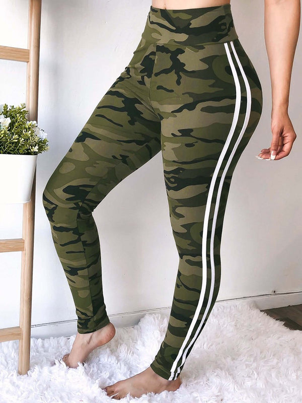 Camouflage Print Skinny High Waist Full Length Casual Pants