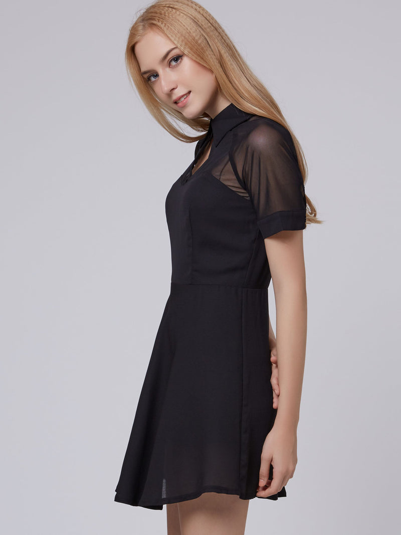 Robe Femme Manches Courtes Revers épissure Pull Mi-Taille