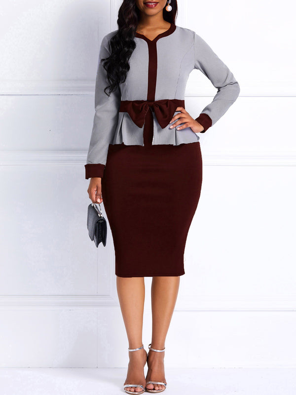 Bodycon Long Sleeves Color Block Women's Dress