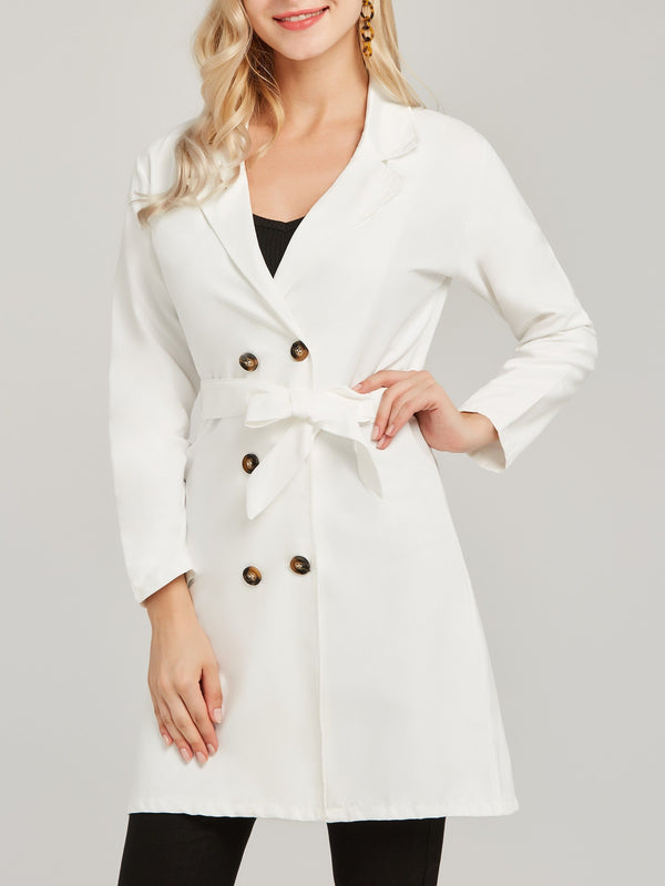 Double-Breasted Lace-Up Button Trench Coat