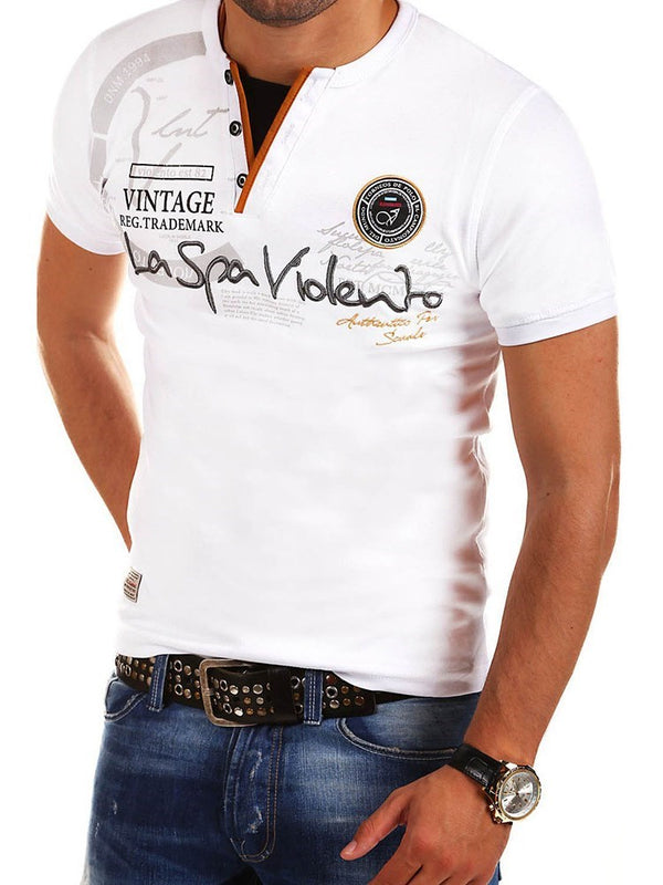T-shirt Homme Lettre Loisir Broderie Manches Courtes Slim