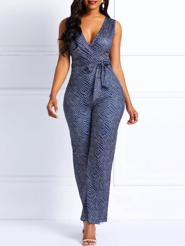 Polka Dot Geometric Wide Legs Women's Jumpsuits