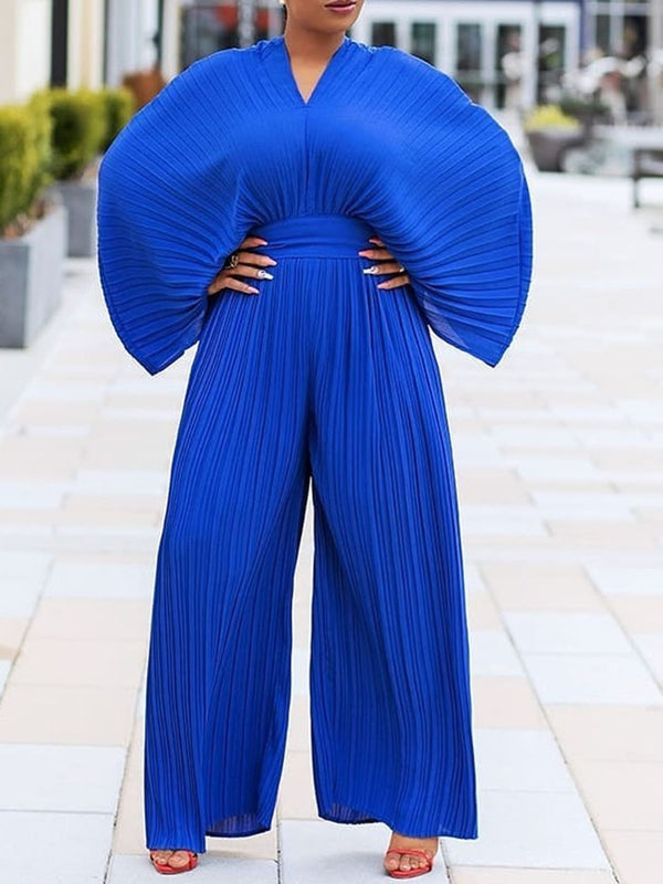 Pleated Plain Full Length Slim Wide Legs Jumpsuit