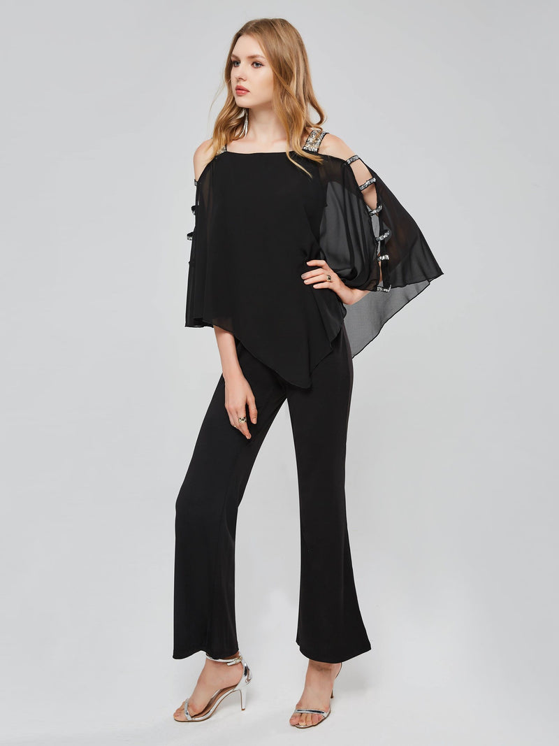 Asymmetric Hollow Batwing Sleeve Women's Jumpsuits