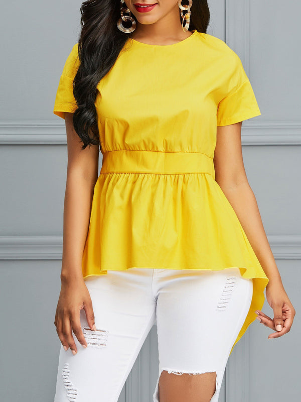 Asymmetric Tunic Mid-Length Short Sleeve Blouse