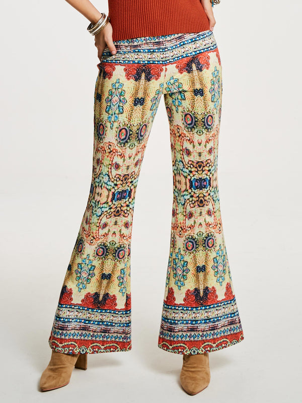 Geometric Print Slim High Waist Full Length Casual Pants