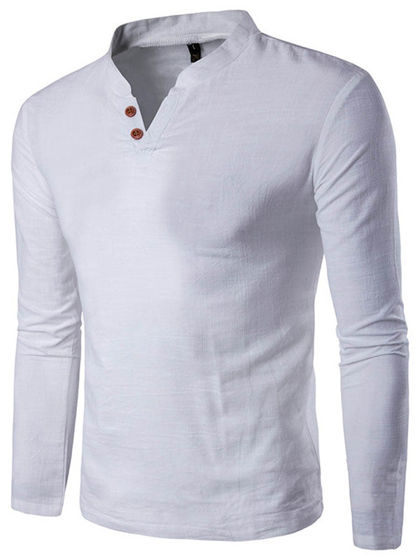 T-shirt Homme Col Montant Pure Manches Longues Coupe Droite