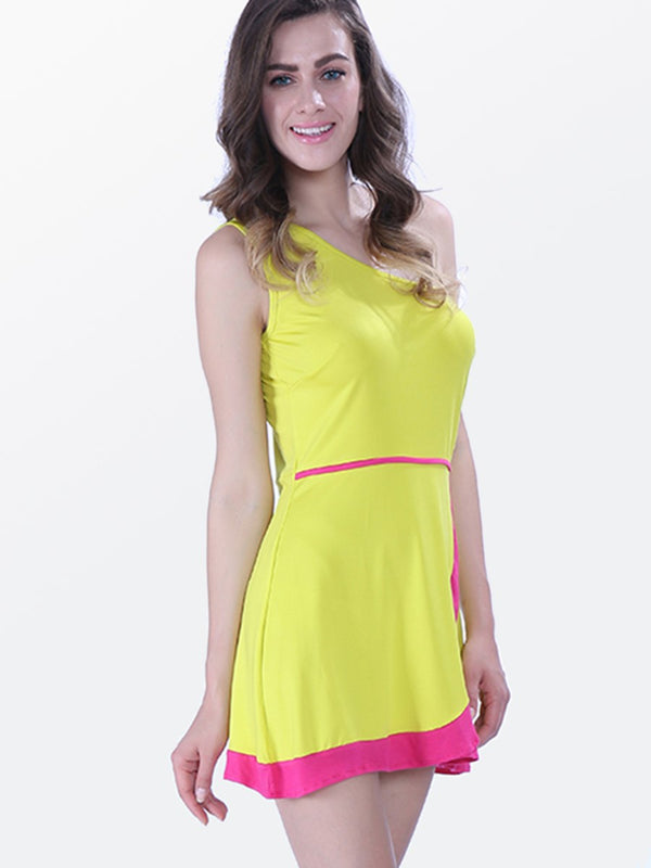 Asymmetric Color Block Above Knee Casual Dress
