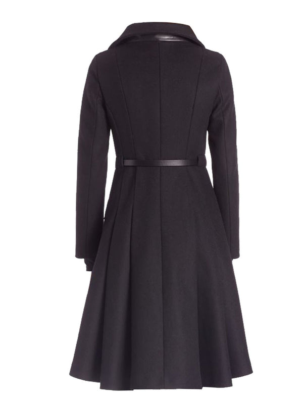 A Line Long Zipper Belt Coat