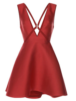 V-Neck Solid Color Sleeveless A Line Dress