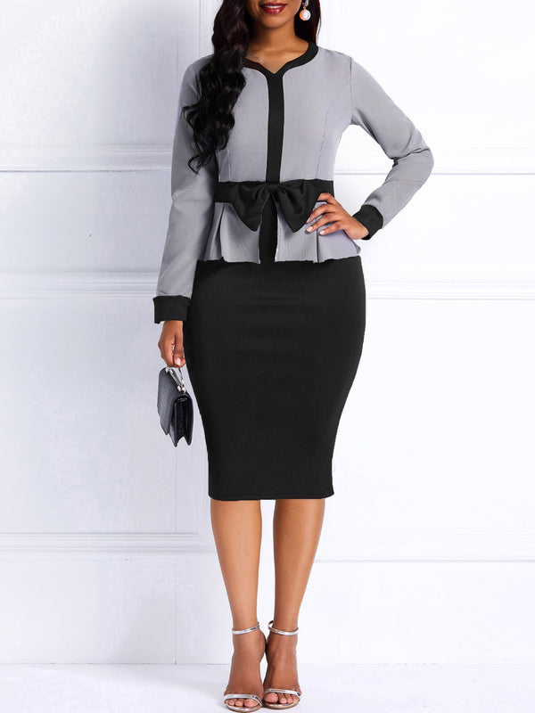 Women's OL Style Long Sleeve Bodycon Dress