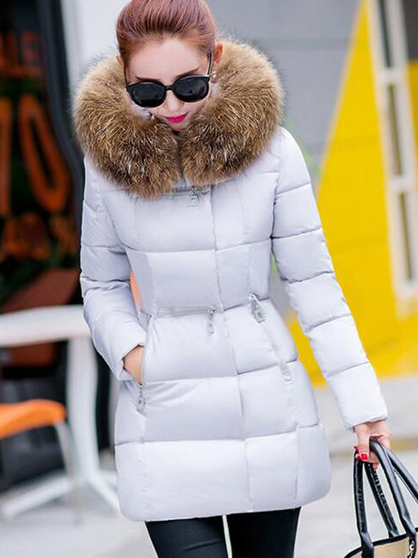 Slim Faux Fur Pocket Collar Coat