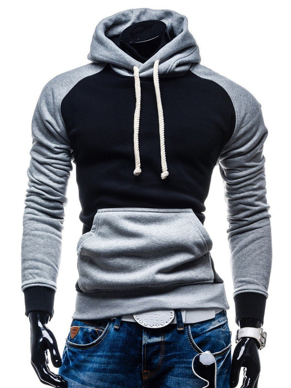 Pocket Slim Color Block Men's Hoodie