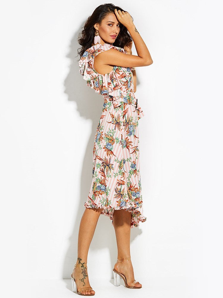 Ruffle Collar Color Block Floral Pleated Maxi Dress