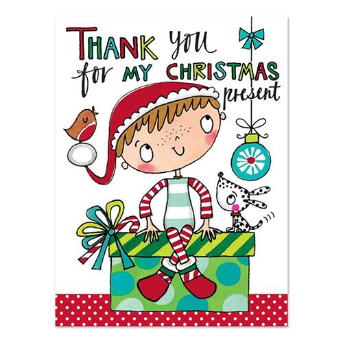 Boy with Dog Christmas Thank You Cards