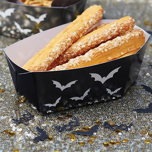 Black Halloween Coffin Food Tray - Pack of 5