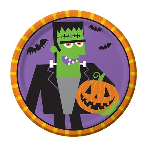 Creepy Characters Frankenstein Plates 18cm - Pack of 8