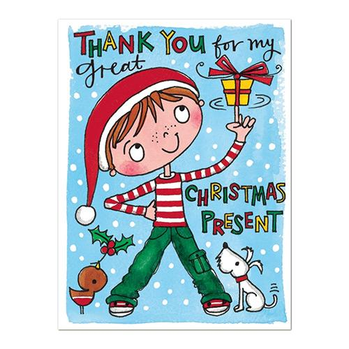 Boy with Present Christmas Thank You Cards