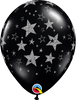 "Black 11"" Latex Balloons with Silver Glitter Stars - Pack of 25"