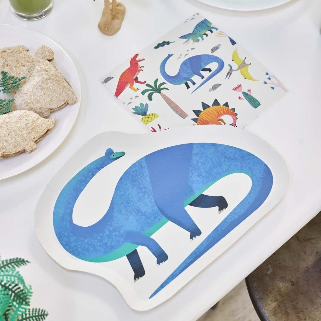 Party Dinosaur Shaped Dino Plates - Pack of 12