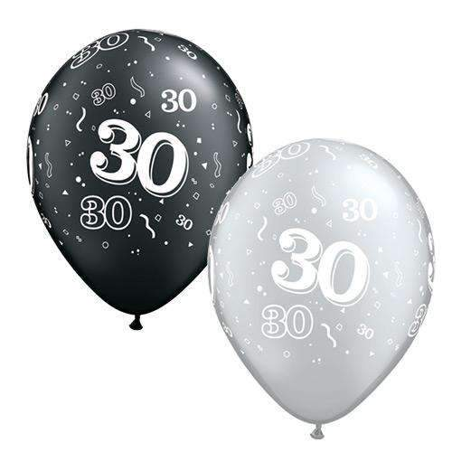 "30th Birthday Balloons - 11"" Black and Silver Qualatex Latex Balloons"