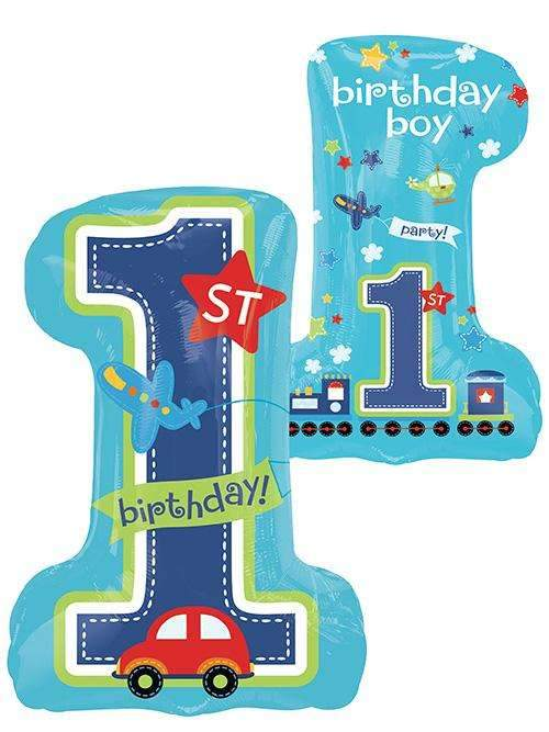 All Aboard 1st Birthday Boy Supershape Foil Balloon