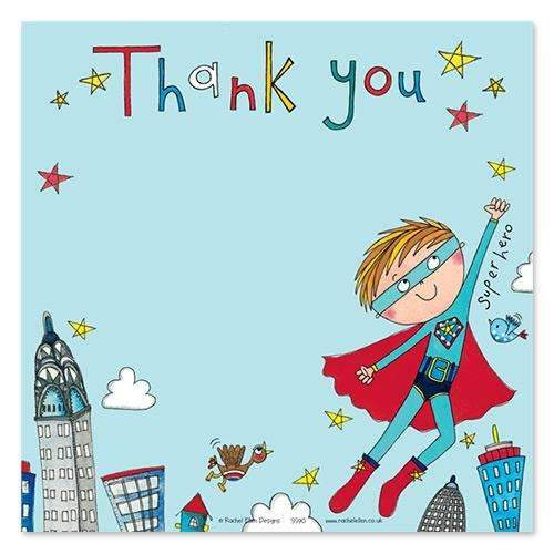 Amazing Superhero Thank You Cards - Pack of 8