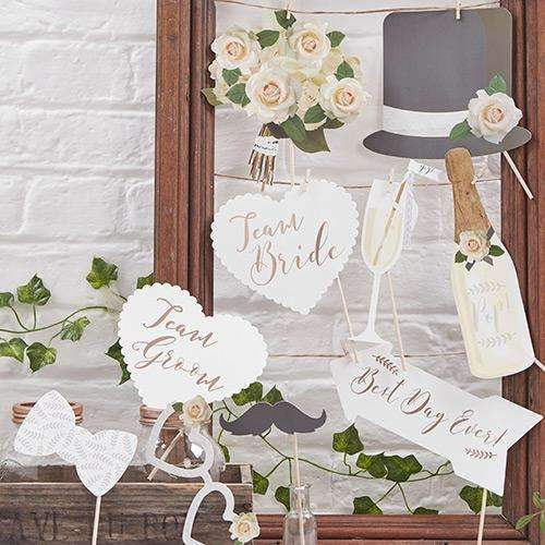 Pretty Gold Wedding Photo Booth Props