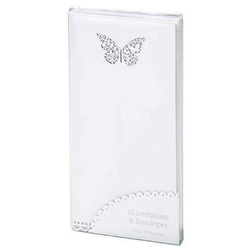 Beautiful Butterfly Wedding Invitation/Menu Cards - Pack of 10