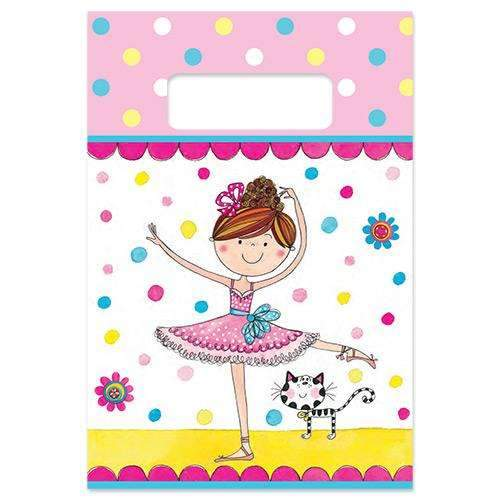 Birthday Ballerina Paper Party Bags - Pack of 8