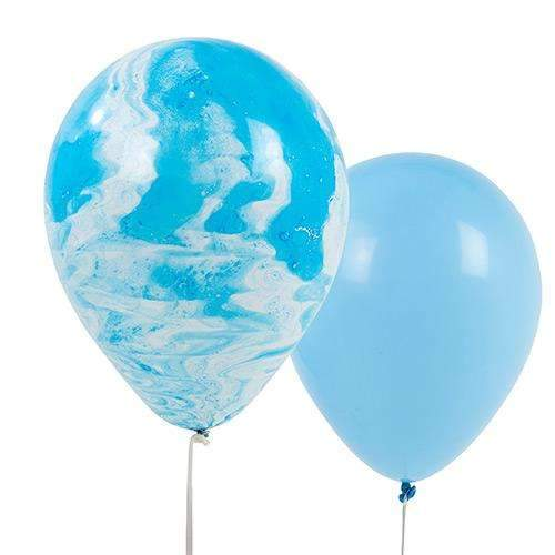 Blue Marble Effect Balloons- Pack of 12