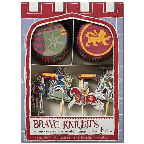 Brave Knights Cupcake Set - Pack of 24 cases & 24 toppers.